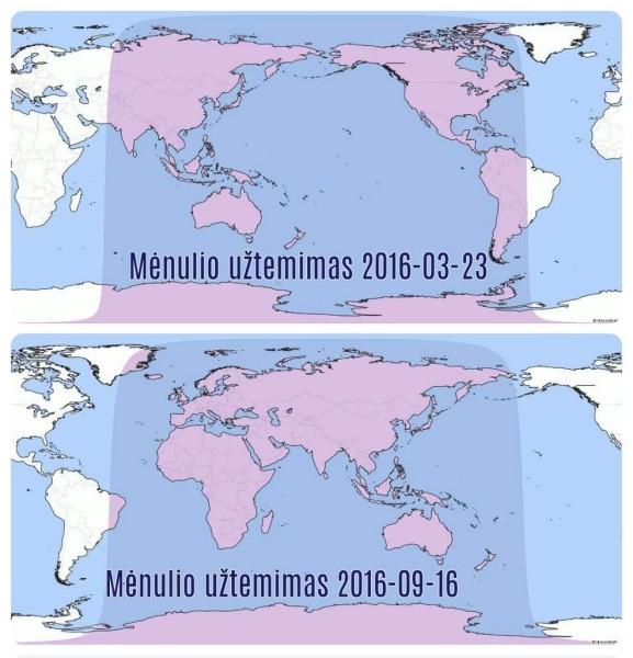 Mėnulio užtemimų matomumas 2016 m.  Pagal www.timeanddate.com