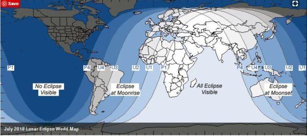 Mėnulio užtemimo 2018 m. liepos 27 d. žemėlapis