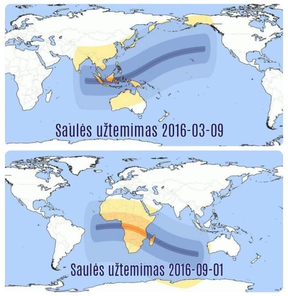 Saulės užtemimų matomumas Lietuvoje ir pasaulyje 2016 m.