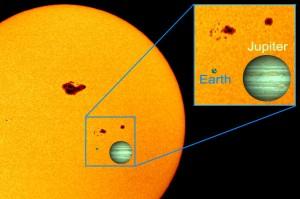 Saulė, Žemė ir Jupiteris