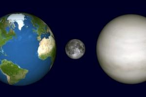 Venera, Žemė, Mėnulis
