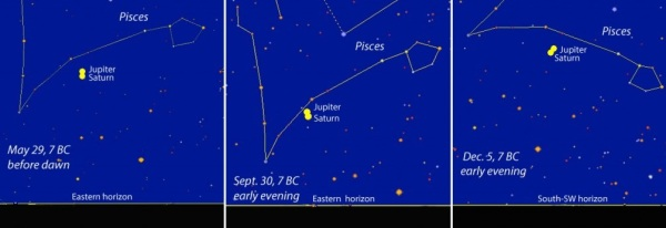 Saturno ir Jupiterio konjunkcija 7 m. pr. Kr.
