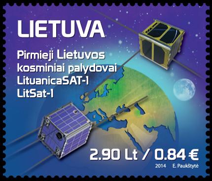 lietuviški palydovai pašto ženkle