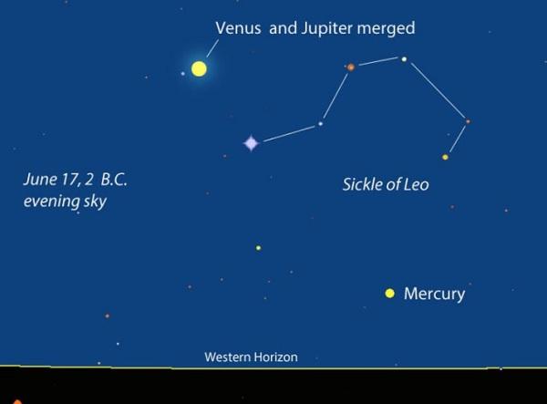 Veneros ir Jupiterio konjunkcija 2 m. pr. Kr.