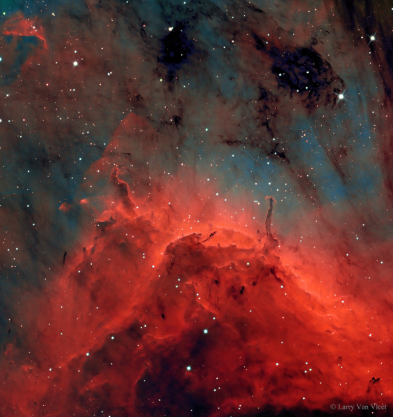 Pillars and Jets in the Pelican Nebula