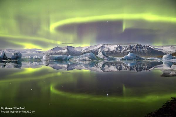 Aurora over Icelandic Glacier