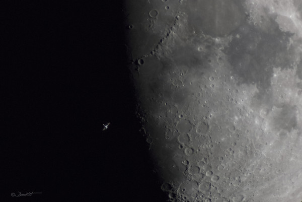 Space Station over Lunar Terminator
