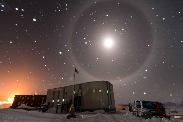 A Blue Moon Halo over Antarctica