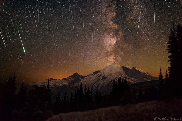 Meteors and Milky Way over Mount Rainier