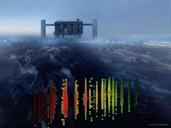 Distant Neutrinos Detected Below Antarctic Ice