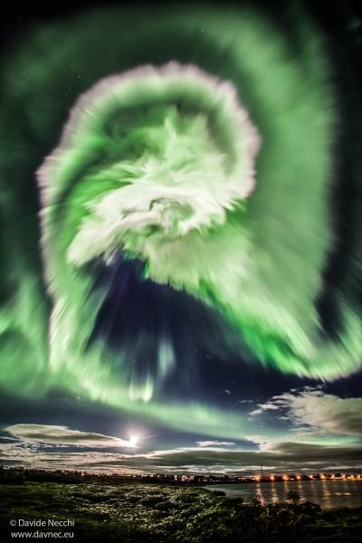 A Spiral Aurora over Iceland