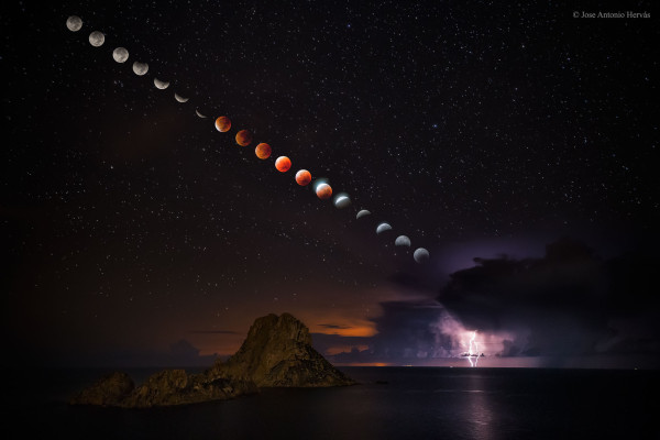 Supermoon Total Lunar Eclipse and Lightning Storm