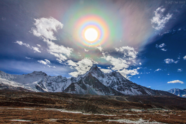 A Colorful Solar Corona over the Himalayas