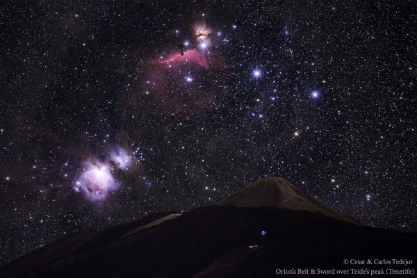 Orion's Belt and Sword over Teide's Peak