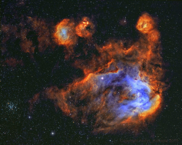 Stars and Gas of the Running Chicken Nebula