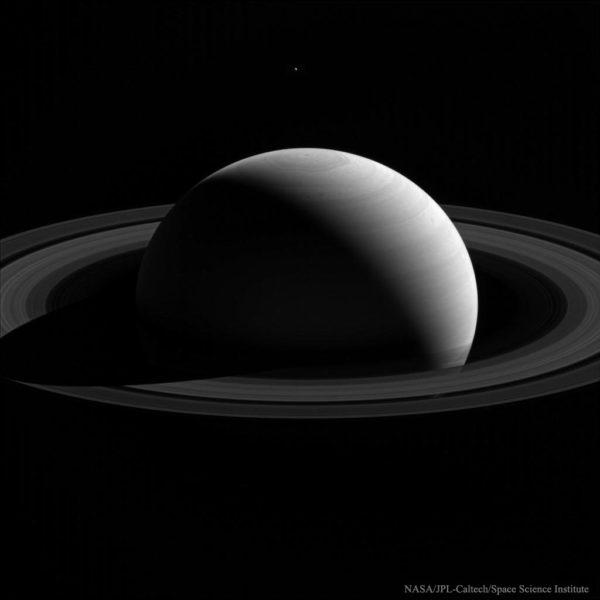 Behind Saturn