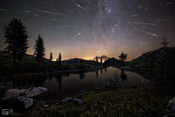 Perseid Meteors over Mount Shasta