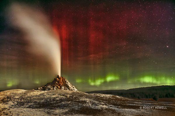 Aurora Over White Dome Geyser