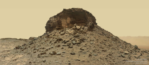 A Crumbling Layered Butte on Mars