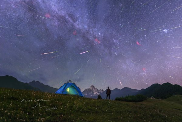 Meteors over Four Girls Mountain